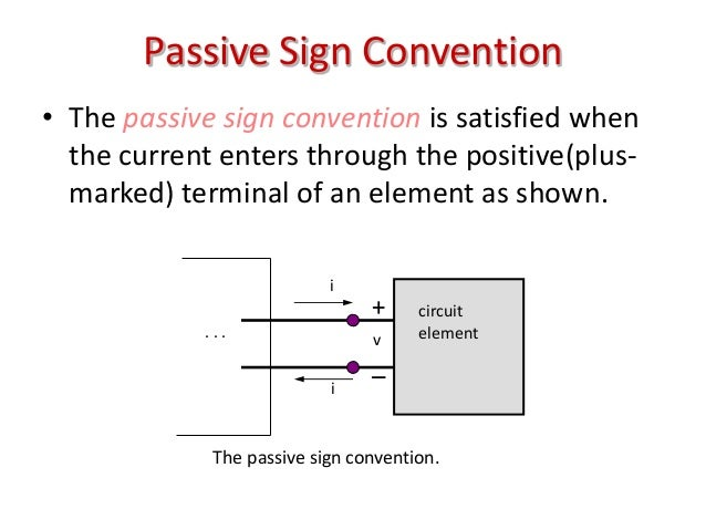 Passive Sign Convention • The passive sign convention is satisfied when the current enters through the positive(plus- mark...