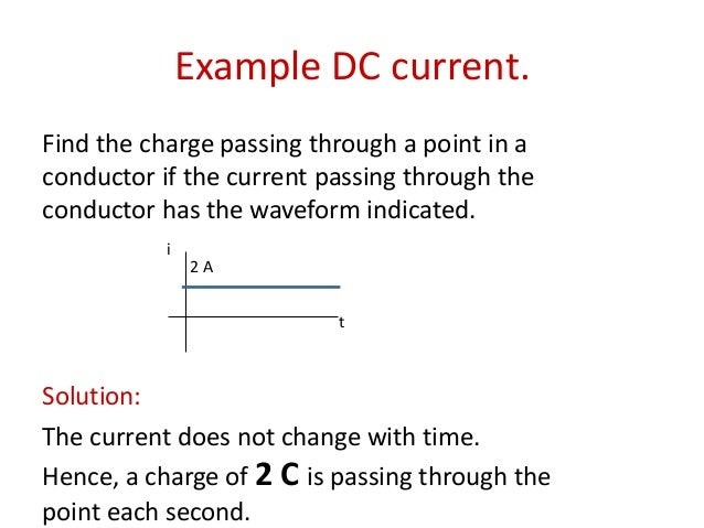 Example DC current. Find the charge passing through a point in a conductor if the current passing through the conductor ha...