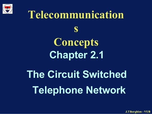 J.Tiberghien - VUBJ.Tiberghien - VUB Telecommunication s Concepts Chapter 2.1 The Circuit Switched Telephone Network