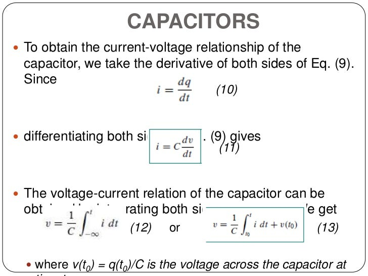 inductor current voltage relationship in a capacitor