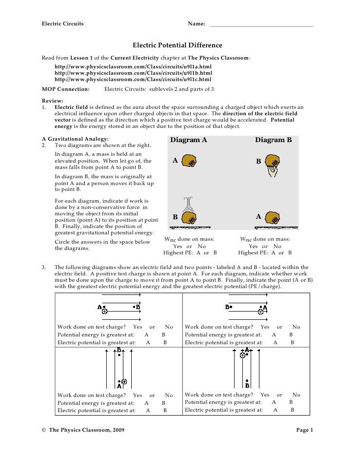 Electrical Circuit Worksheet Answers
