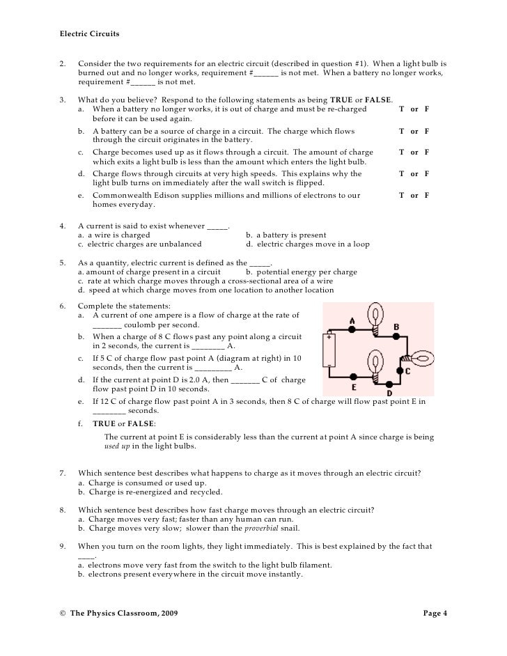 Circuit worksheets – Series and Parallel Circuits Worksheet