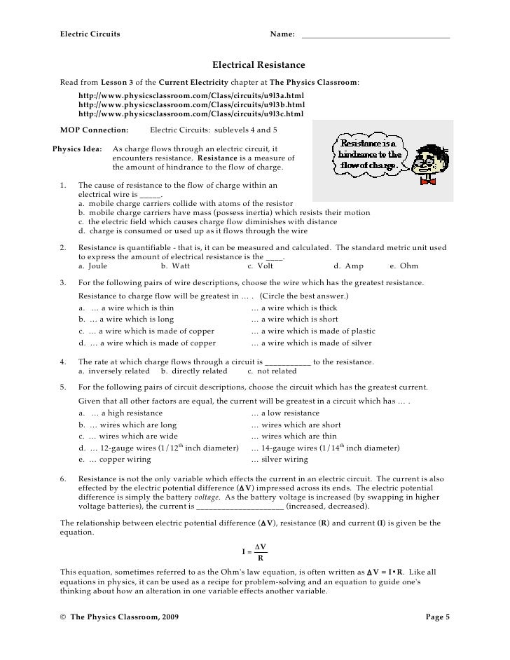 Circuit worksheets – Electric Field Worksheet
