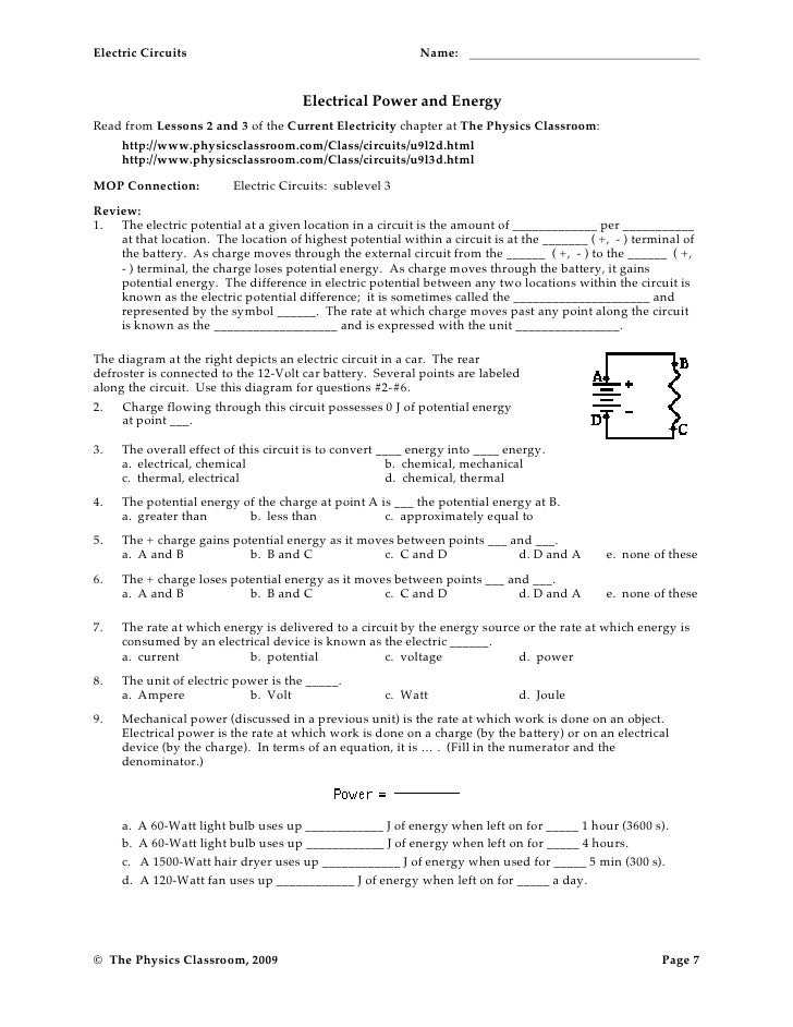 Electric circuits worksheet 2