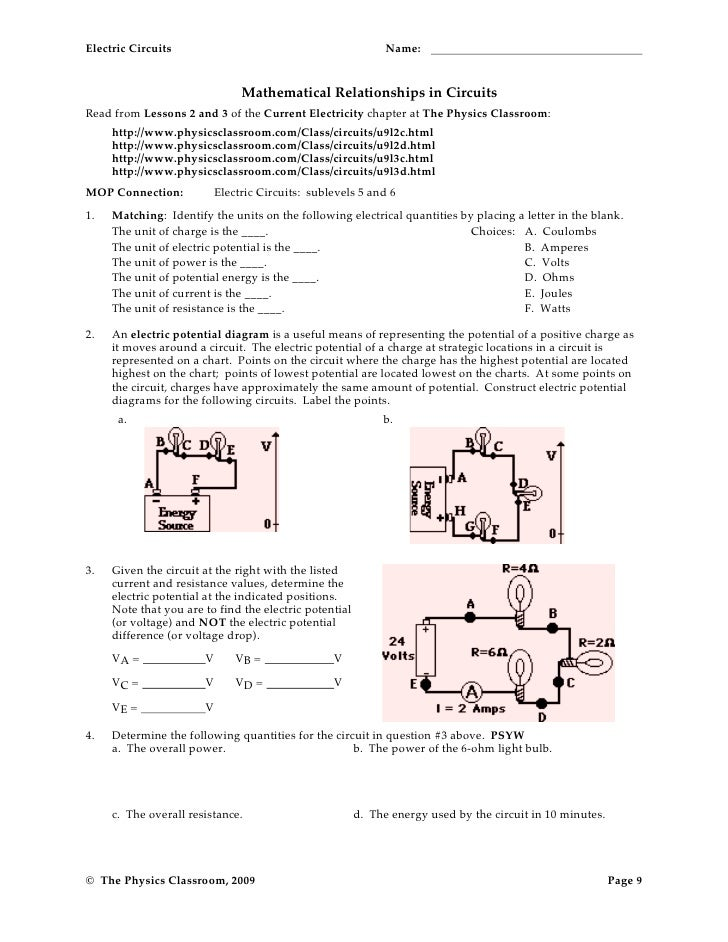 Electrical Circuit Diagram Questions And Answers