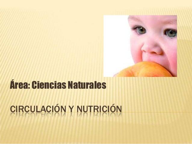 Área: Ciencias NaturalesCIRCULACIÓN Y NUTRICIÓN