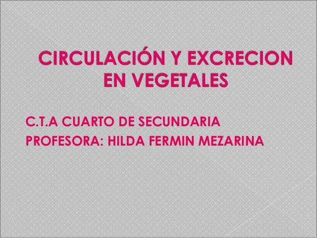 C.T.A CUARTO DE SECUNDARIA PROFESORA: HILDA FERMIN MEZARINA