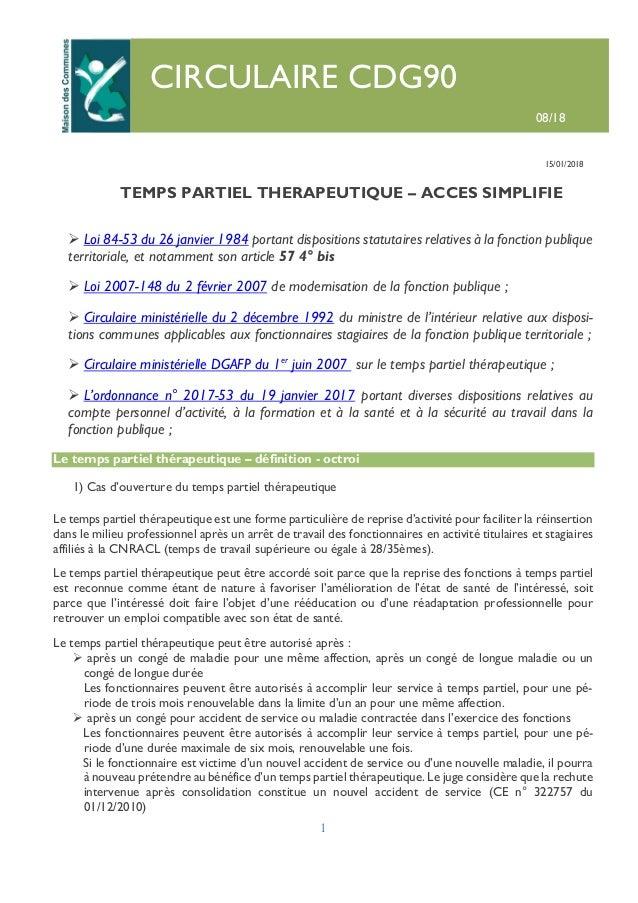 Circulaire08 2018 Tps Partiel Therapeutiq Acces Simplifie Cdg 90