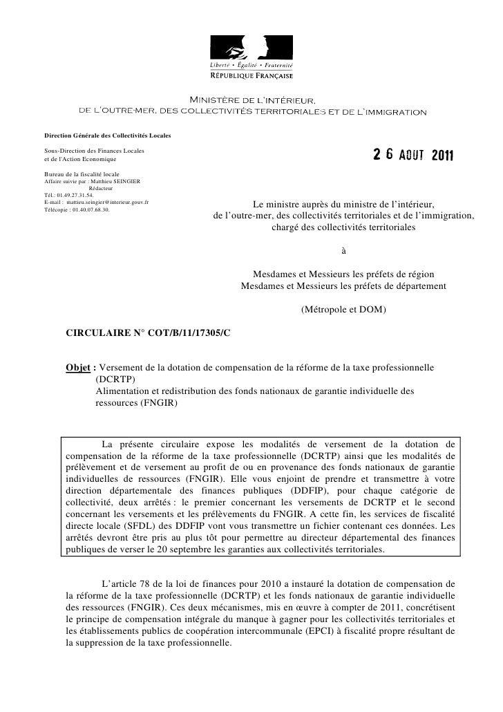 Direction Générale des Collectivités LocalesSous-Direction des Finances Localeset de lAction EconomiqueBureau de la fiscal...