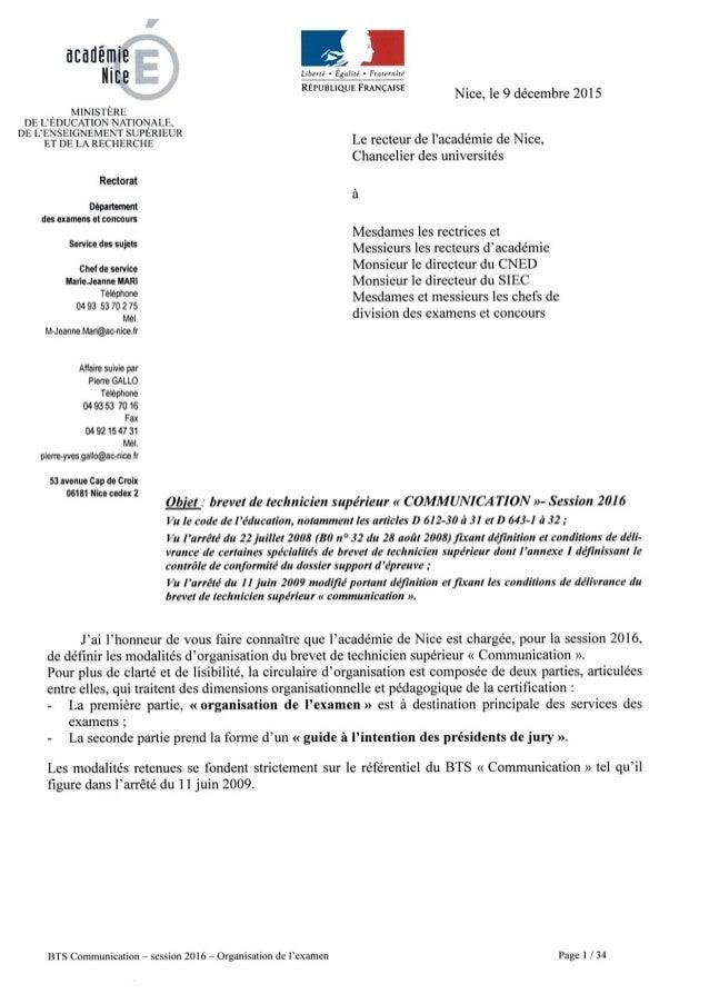 Circulaire nationale bts communication 2016