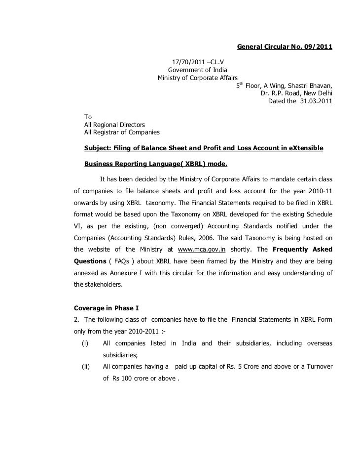 MCA Circular on XBRL implementation from 1st April 2011