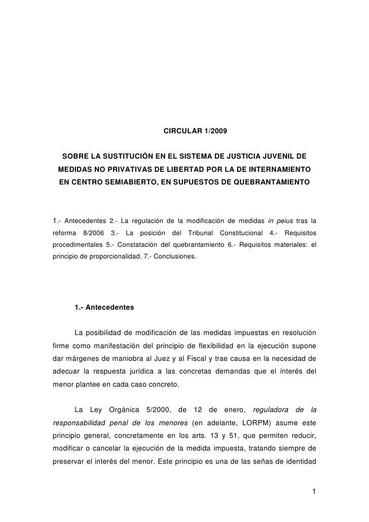 CIRCULAR 1/2009   SOBRE LA SUSTITUCIÓN EN EL SISTEMA DE JUSTICIA JUVENIL DE MEDIDAS NO PRIVATIVAS DE LIBERTAD POR LA DE IN...