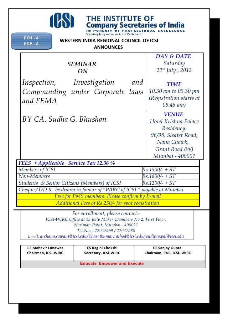 PCH - 4                    WESTERN INDIA REGIONAL COUNCIL OF ICSI  PDP - 8                                ANNOUNCES       ...