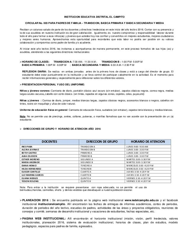 INSTITUCION EDUCATIVA DISTRITAL EL CAMPITO CIRCULAR No. 003 PARA PADRES DE FAMILIA – TRANSICION, BASICA PRIMARIA Y BASICA ...