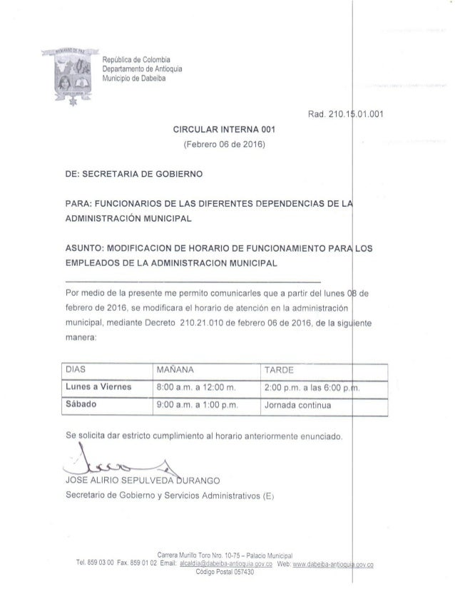 54;.  Republica de Colombia  Departamento de Antioqula Municipio de Dabeiba  Rad.  21o.1ls. o1.oo1 CIRCULAR INTERNA oo1  (...