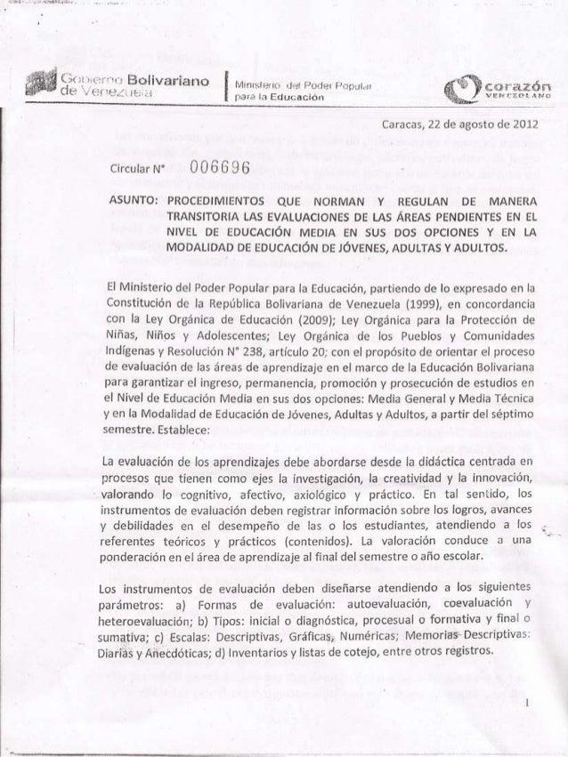 Circular 006696 del Ministerio del Poder Popular para la Educación,  Venezuela, 22-08-2012