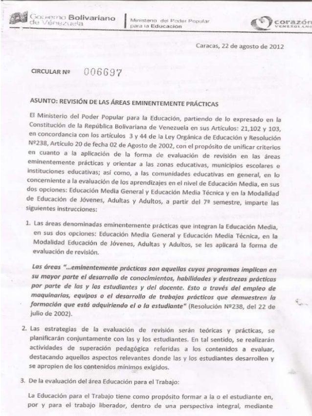 Circular 006697 del Ministerio del Poder Popular para la Educación,  Venezuela, 22-08-2012
