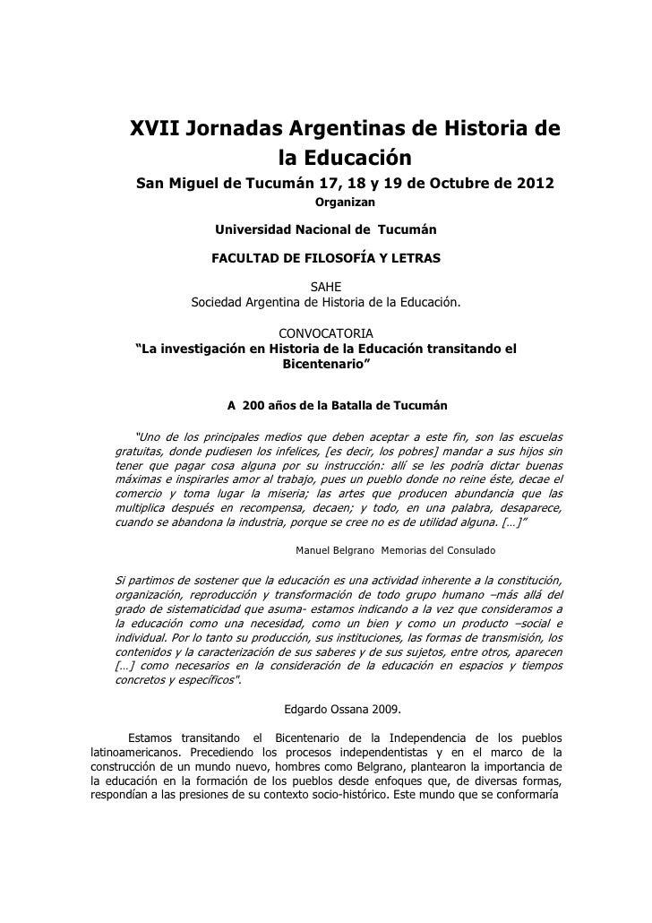 XVII Jornadas Argentinas de Historia de                    la Educación        San Miguel de Tucumán 17, 18 y 19 de Octubr...