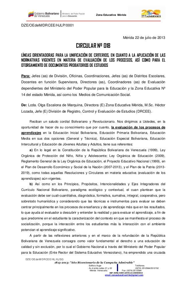"""Zona Educativa Mérida DZE/OEdeM/DRCEE/HL/KJSG 1813-2013: """"Año Bicentenario de la Campaña Admirable"""" Edificio Auge Teléfono..."""