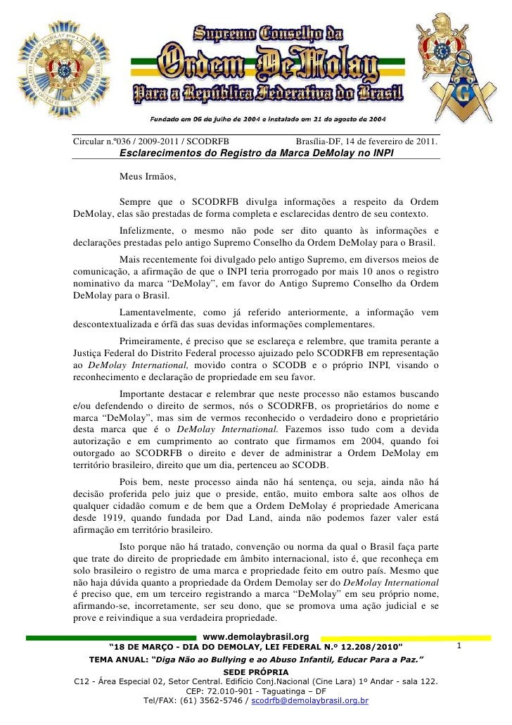 Circular n.º036 / 2009-2011 / SCODRFB                    Brasília-DF, 14 de fevereiro de 2011.           Esclarecimentos d...