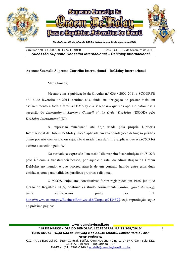 Circular n.º037 / 2009-2011 / SCODRFB                     Brasília-DF, 17 de fevereiro de 2011.   Sucessão Supremo Conselh...