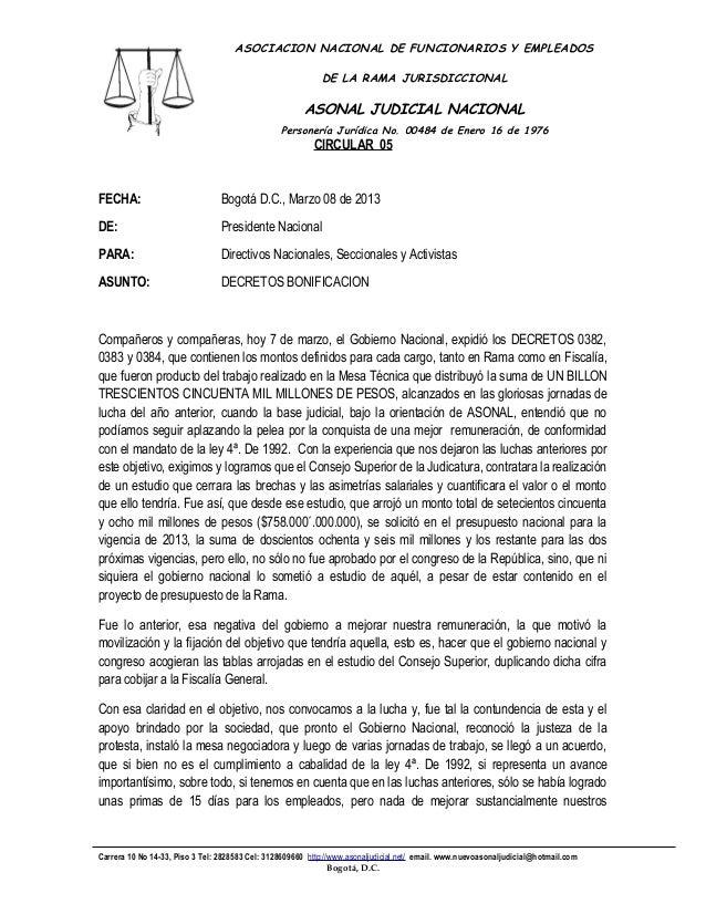 ASOCIACION NACIONAL DE FUNCIONARIOS Y EMPLEADOS                                                            DE LA RAMA JURI...