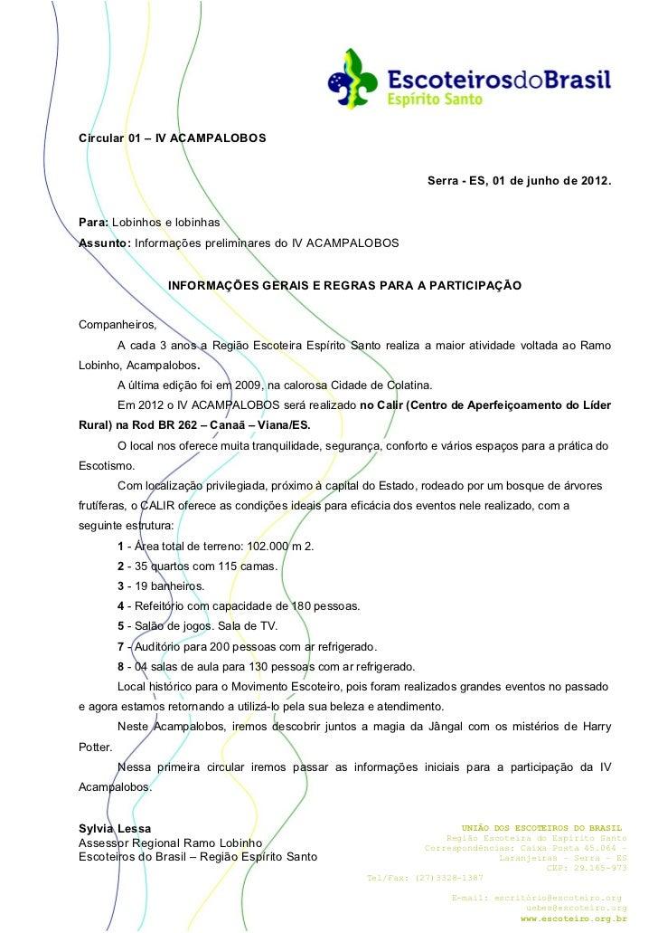 Circular 01 – IV ACAMPALOBOS                                                                      Serra - ES, 01 de junho ...