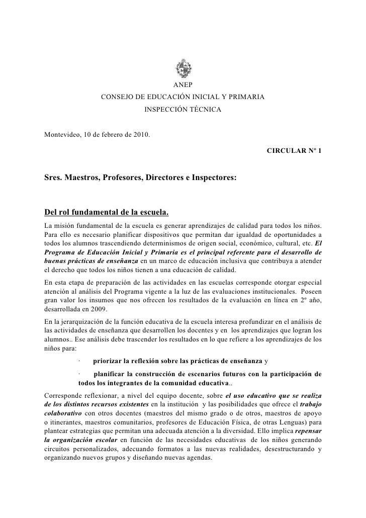 ANEP                    CONSEJO DE EDUCACIÓN INICIAL Y PRIMARIA                                   INSPECCIÓN TÉCNICA   Mon...