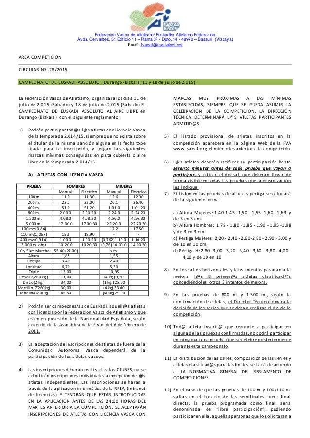 Federación Vasca de Atletismo/ Euskadiko Atletismo Federazioa Avda. Cervantes, 51 Edificio 11 – Planta 3º - Dpto. 14 - 489...