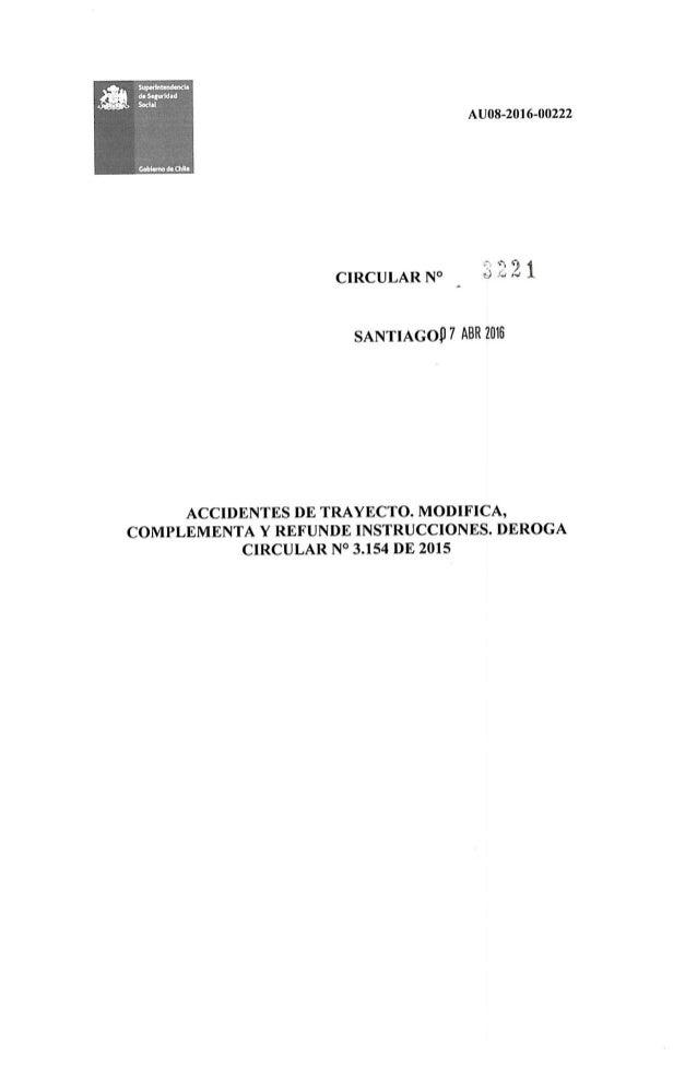 SUSESO Circular Nº 3221 Accidente Trayecto 07.04.2016