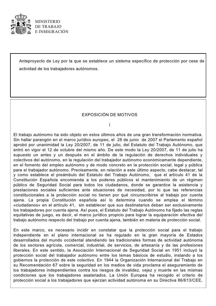MINISTERIO            DE TRABAJO            E INMIGRACIÓN        Anteproyecto de Ley por la que se establece un sistema es...