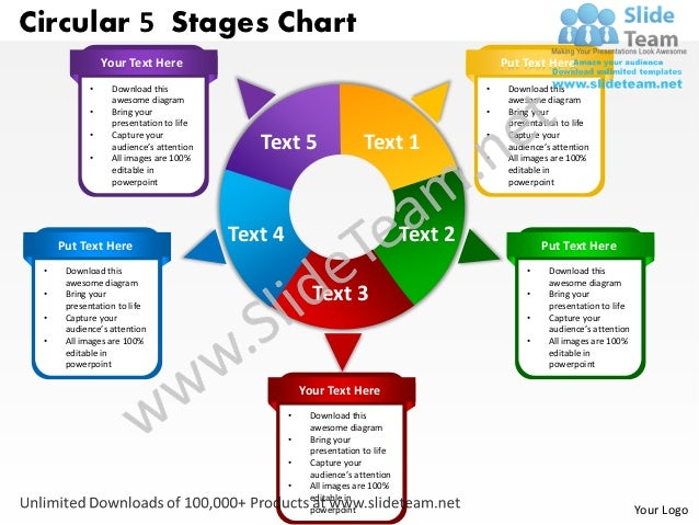 Circular 5 Stages Chart                Your Text Here                                                            Put Text ...
