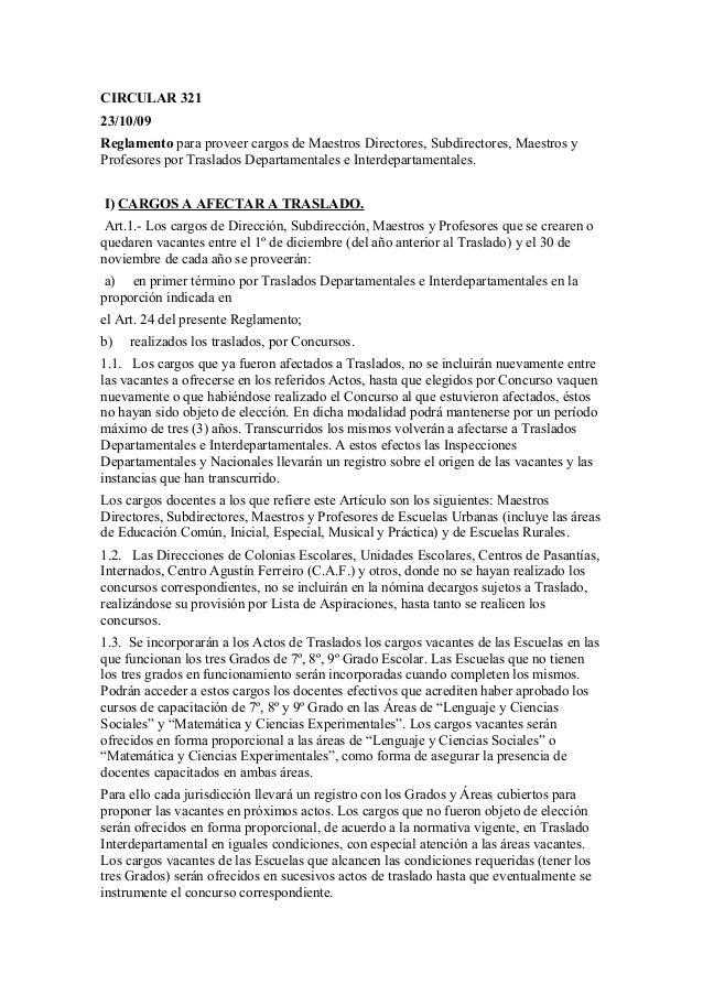 CIRCULAR 32123/10/09Reglamento para proveer cargos de Maestros Directores, Subdirectores, Maestros yProfesores por Traslad...