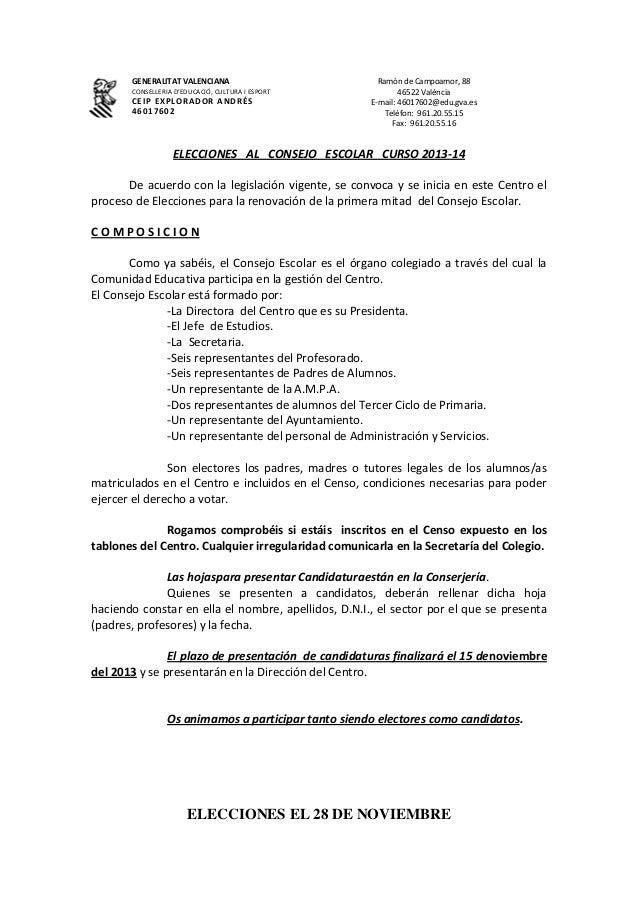 GENERALITAT VALENCIANA CONSELLERIA D'EDUCACIÓ, CULTURA I ESPORT  CEIP EXPLORADOR ANDRÉS 46017602  Ramón de Campoamor, 88 4...