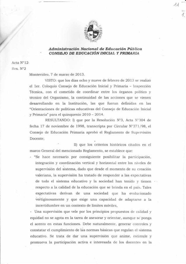 """114 4, Acta N"""" 12- Res. No2 Administración Nacional de Educ'a.ción hiblica COJVS.E""""TO DE EDUCACIÓN IMCIAT, Y PRIIUIARIA Mo..."""