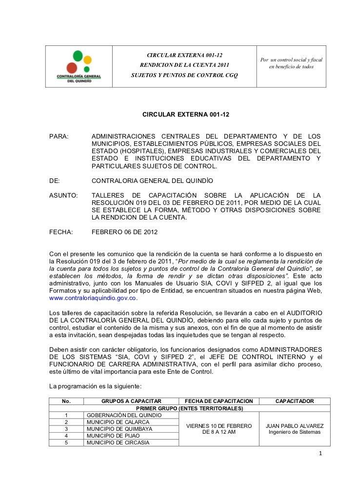 CIRCULAR EXTERNA 001-12                                                                          Por un control social y f...