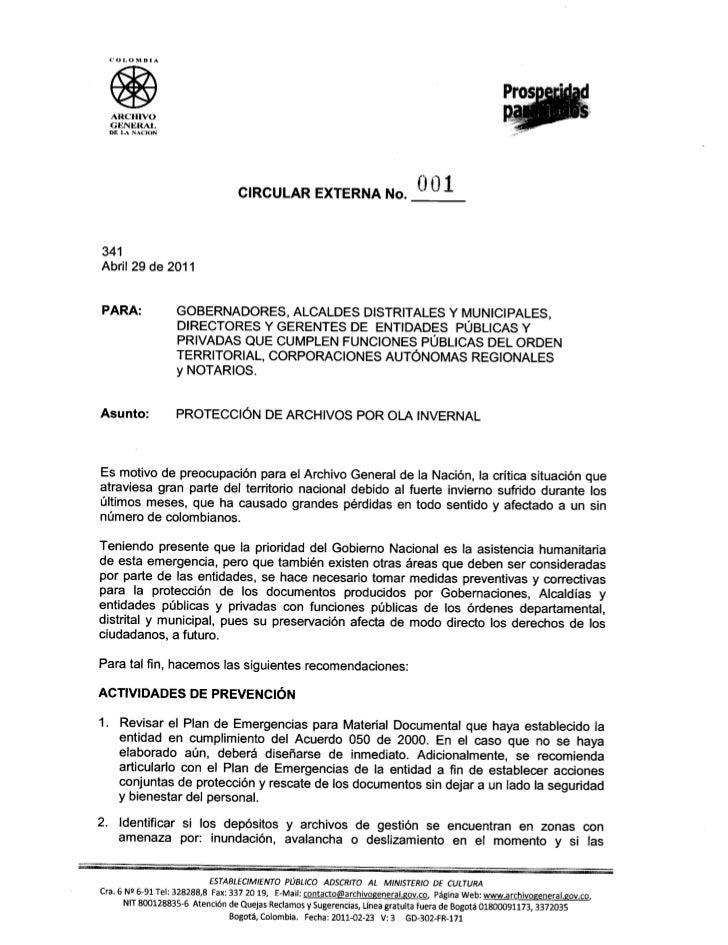 COLOMBIA  ARCHIVO  GI<:NI<:RAL  DE LA NACION                                      CIRCULAR EXTERNA No.                    ...