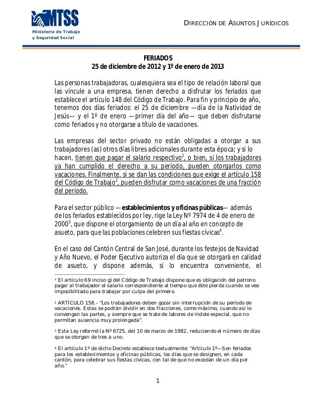 DIRECCIÓN DE ASUNTOS JURÍDICOSMinisterio de Trabajoy Seguridad Social                                         FERIADOS    ...