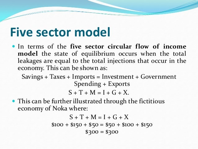 main features five sector circular flow model equilibrium