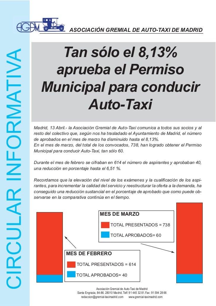 ASOCIACIÓN GREMIAL DE AUTO-TAXI DE MADRID     Tan sólo el 8,13%    aprueba el Permiso   Municipal para conducir         Au...