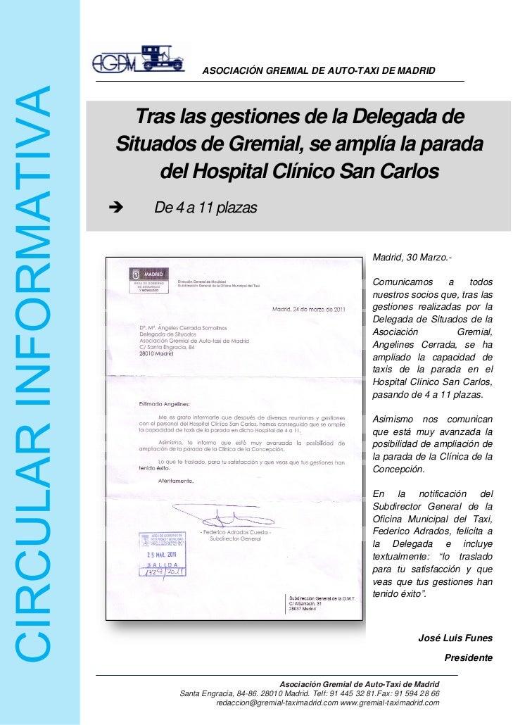 ASOCIACIÓN GREMIAL DE AUTO-TAXI DE MADRID           Tras las gestiones de la Delegada de         Situados de Gremia...