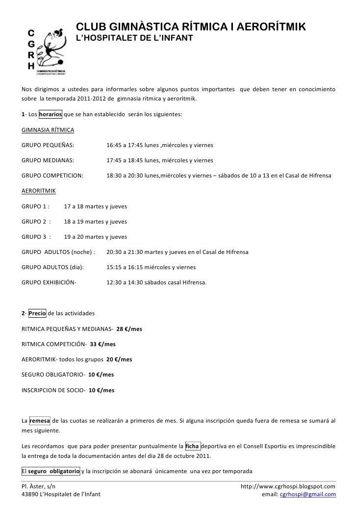 CLUB GIMNÀSTICA RÍTMICA I AERORÍTMIK                    L'HOSPITALET DE L'INFANTNos dirigimos a ustedes para informarles s...