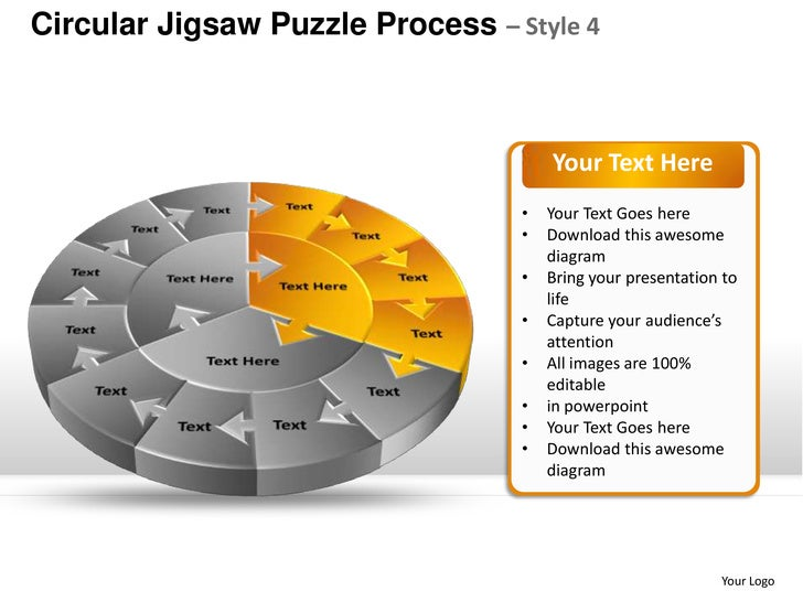 Circular Jigsaw Puzzle Process Style 4 Powerpoint Templates