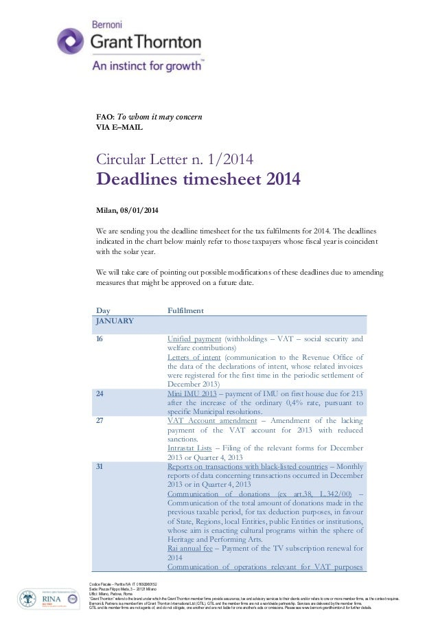 FAO: T wh VIA E–MAIL  it  ay c  cer  Circular Letter n. 1/2014  Deadlines timesheet 2014 Milan, 08/01/2014 We are sending ...