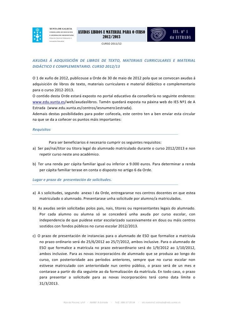 XUNTA DE GALICIA         CONSELLERÍA DE EDUCACIÓN                                           AXUDAS LIBROS E MATERIAL PARA ...
