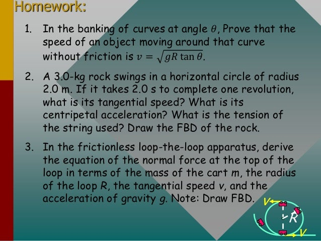 Homework: 1. In the banking of curves at angle 𝜃, Prove that the speed of an object moving around that curve without frict...