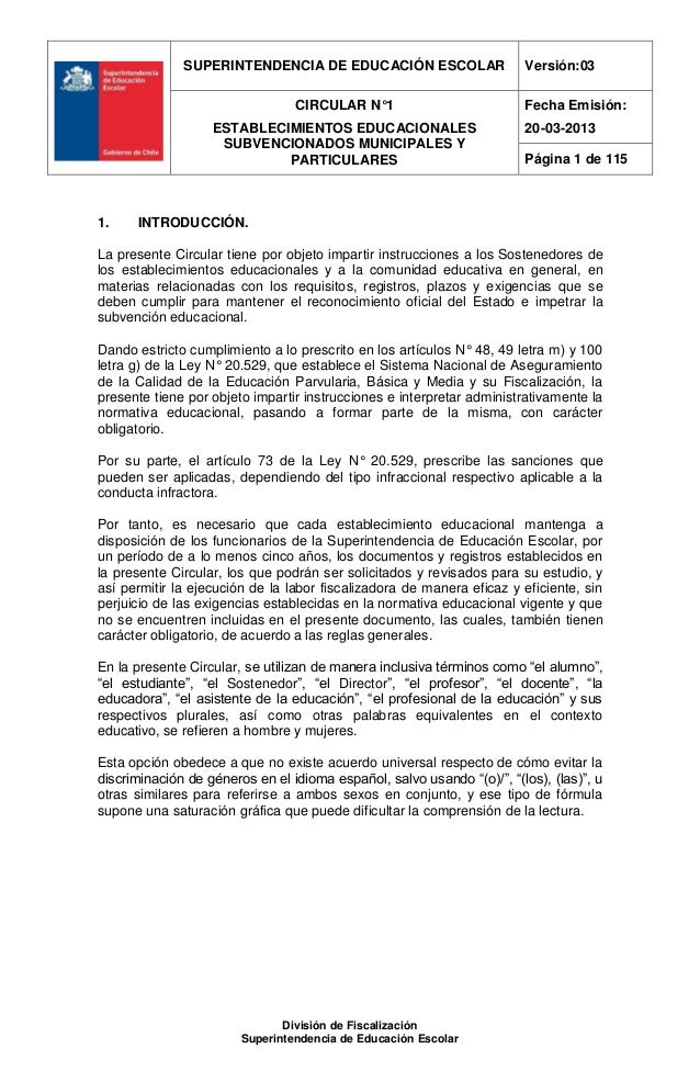 SUPERINTENDENCIA DE EDUCACIÓN ESCOLAR                     Versión:03                                 CIRCULAR N°1         ...