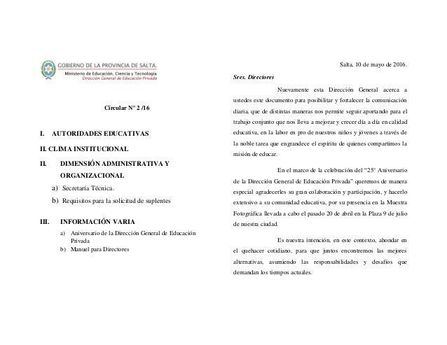 Circular Nº 2 /16 I. AUTORIDADES EDUCATIVAS II. CLIMA INSTITUCIONAL II. DIMENSIÓN ADMINISTRATIVA Y ORGANIZACIONAL a) Secre...