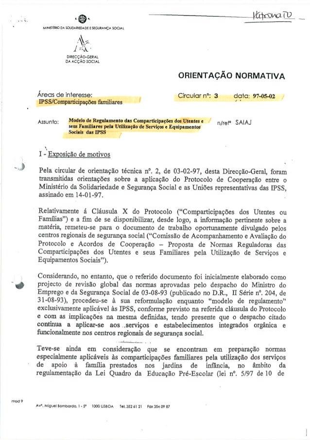 Circular nº 3 de 02.05.1997 regulamentação das comparticipações