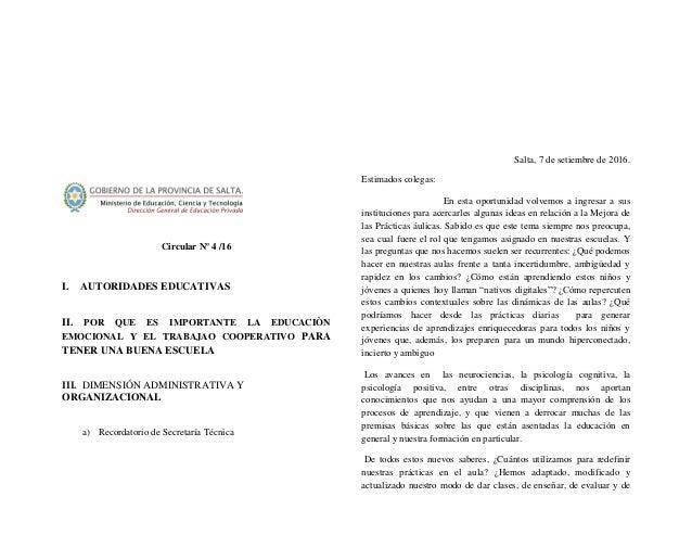 Circular Nº 4 /16 I. AUTORIDADES EDUCATIVAS II. POR QUE ES IMPORTANTE LA EDUCACIÒN EMOCIONAL Y EL TRABAJAO COOPERATIVO PAR...